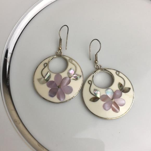 f33165b3b Alpaca Mexico cream enamel abalone silver earrings. Listing Price: $20.00